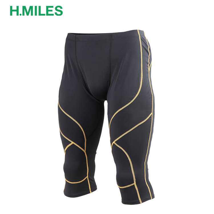 Quickdry fitness Leggings half Trousers sport training men capri jogging compression pants