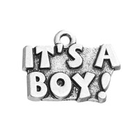 Whole Sale Free Shipping Classic Antique Silver Plating IT'S A BOY Tag Charm