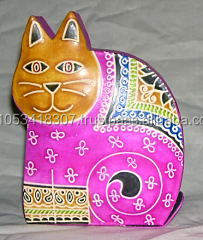 HAND MADE LEATHER COIN BANKS CAT