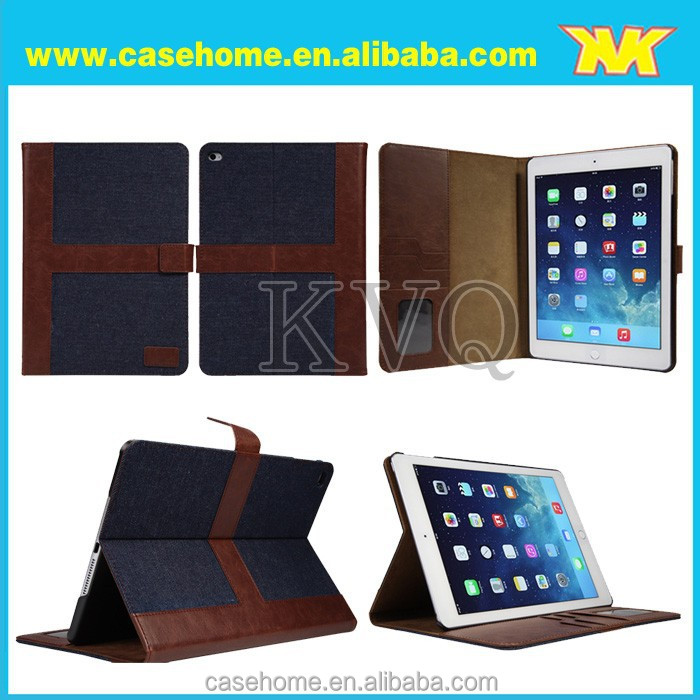 Fashion Jeans leather case for iPad air 2 with stand and sleep wake up function,wallet Jeans tablet cae for iPad air