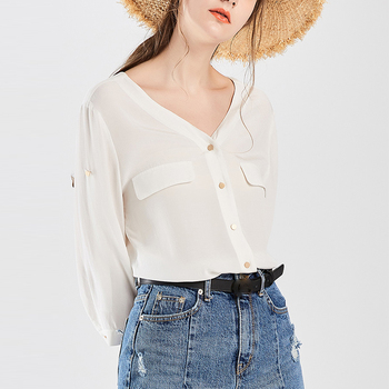 Fashion Women Summer White Blouse With V Neck