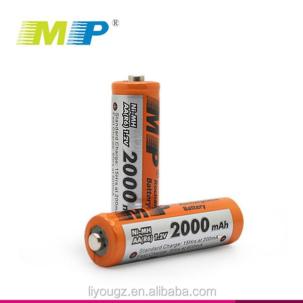 2016 China Factory High Quality Hot Selling 2000mAh 1.2v AA NI-MH Rechargeable Battery