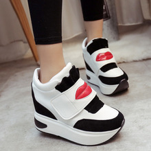 Fashion Spring Autumn Winter Kiss Pattern High Heel Wedge Ladies Casual Shoes