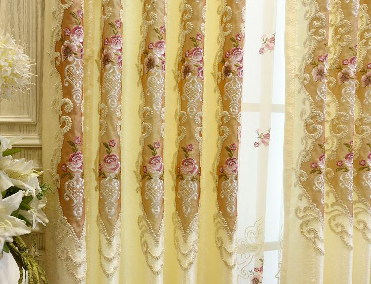 wholesale Gray and yellow new striped flowers blackout embroidery window curtain