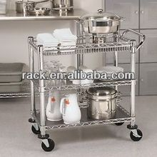 12C-3 Tiers Retraurant Metal Service Cooking Trolley in Chrome, NSF Approval
