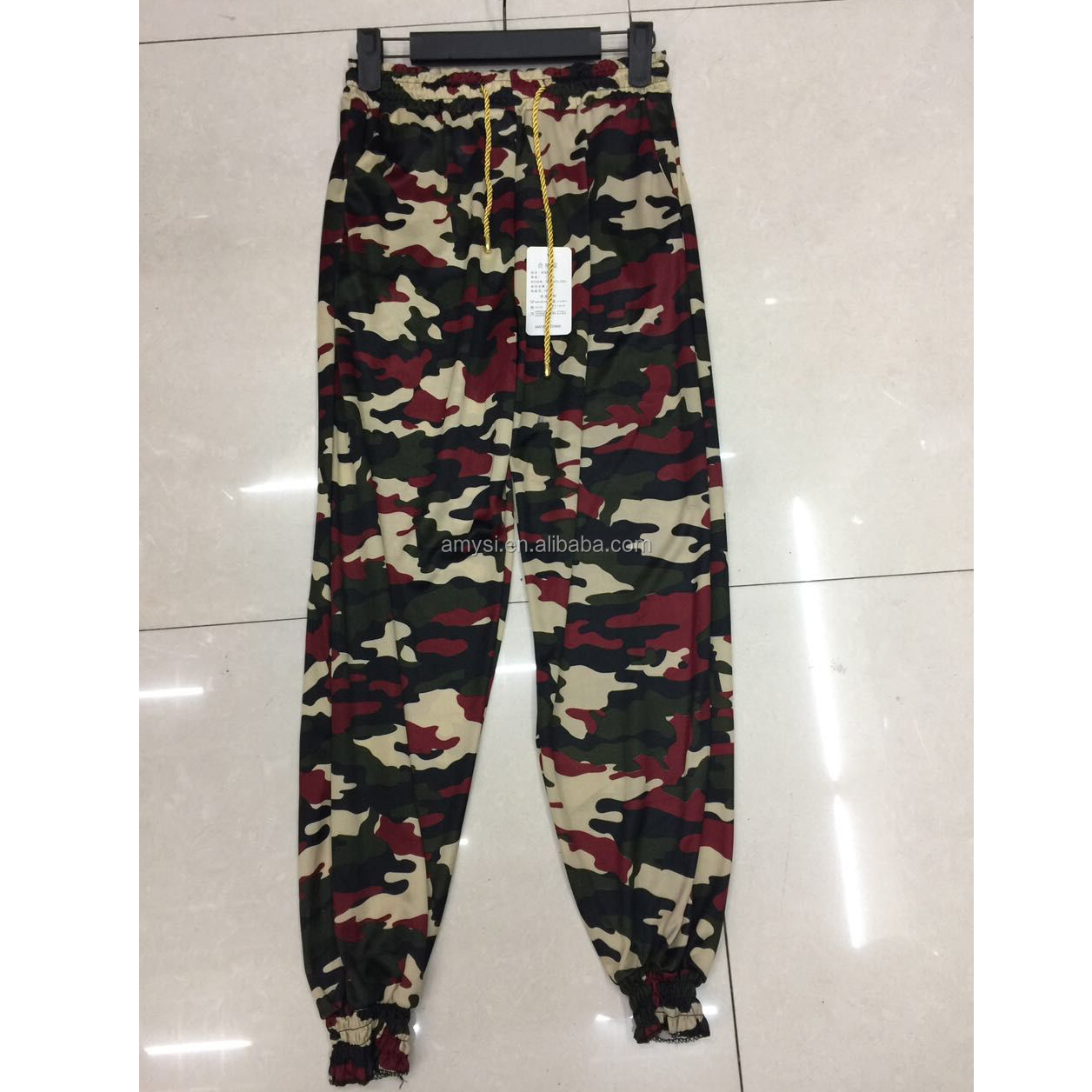 1.3 USD WK016 Wholesale Women Casual Work Pants Trousers Cheap Army Green camouflage cargo pants