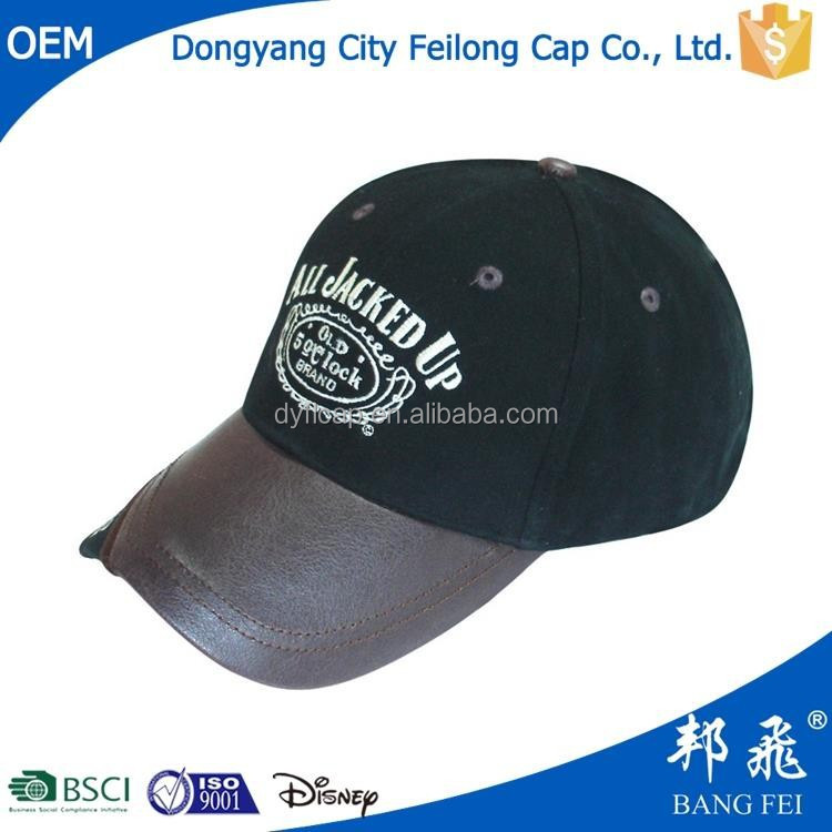 Customize Flat leather Bill Hats Snap Back/Snapback Caps Wholesale 6 Panel Cap Baseball Hat with leather bill