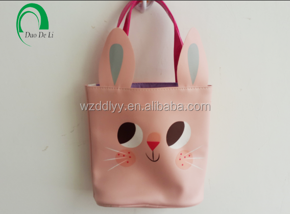 High Quality school girls pink cat PU tote bag with custom design