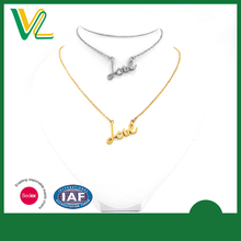 Customized Latest design Zinc Alloy Gold plating Love Imitation Jewelry with crystal Silver Necklaces for women pendant