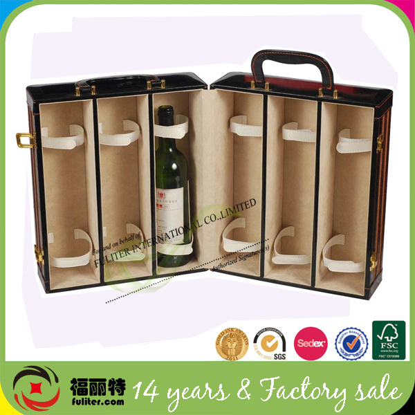 Customized hot sales luxury cardboard leather wine carrier box