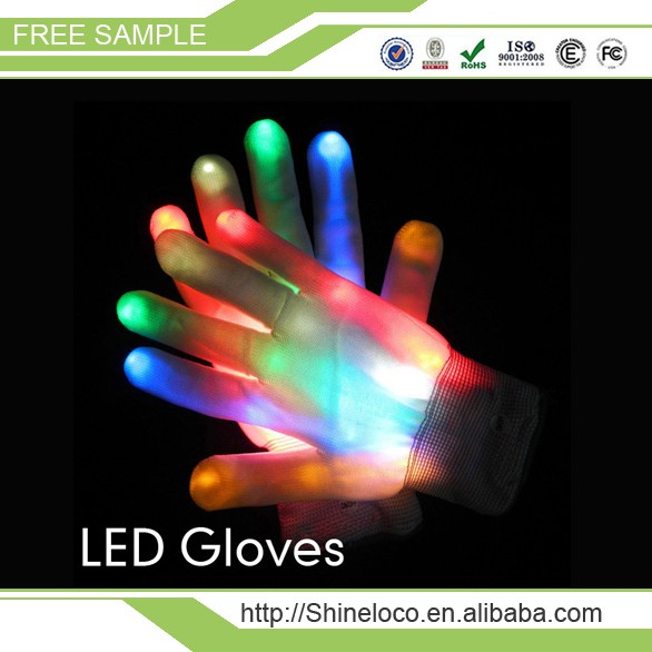 LED Flashing Gloves, Promotion Gifts Logo Printing LED Glowing Gloves