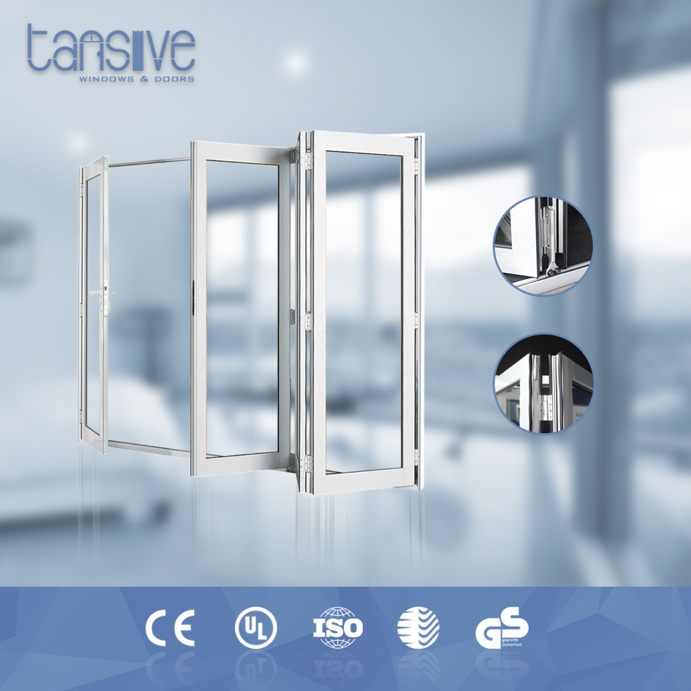 Tansive construction double glazed iso soundproof Aluminum framed accordion doors bathroom