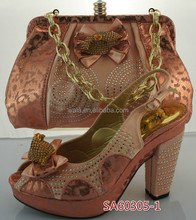 SA60305-1 peach color high heel italian shoes and shoulder bag 2016 hot selling italian shoes set