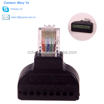 AOST 1Pc RJ45 Ethernet Male To 8 Pin AV Terminal Screw Adapter Converter Block Plug CCTV Accessory
