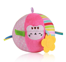 Cartoon ball toys with bell inside baby playing ball plush ball toys