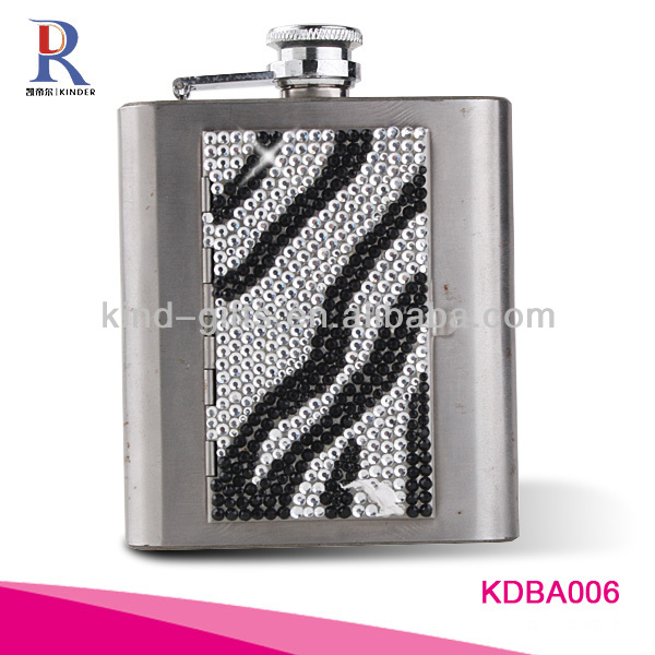 Crystal 6 Oz Stainless Steel Whisky Hip Flask Finishing Spray Paint