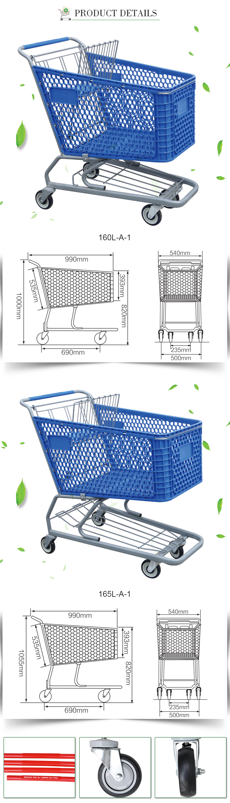Best supermarket plastic shopping grocery cart trolley for sale