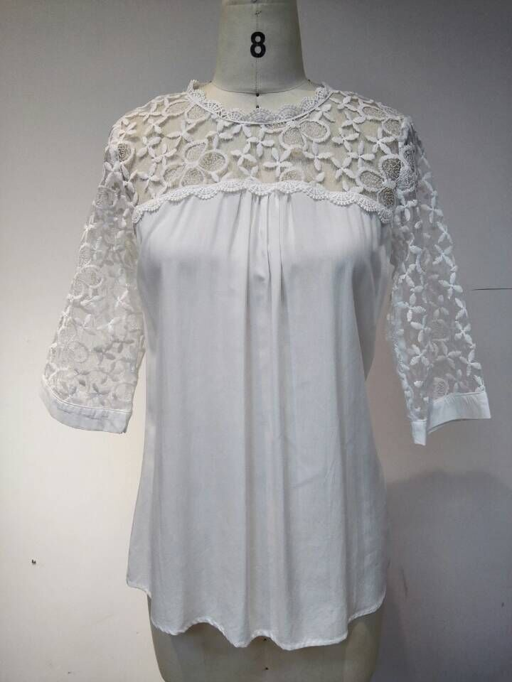elegant lace patchwork ladies blouse