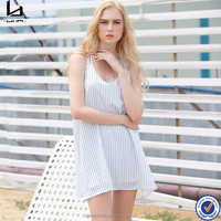 Summer new fashion one piece dress v neck sleeveless casual dress