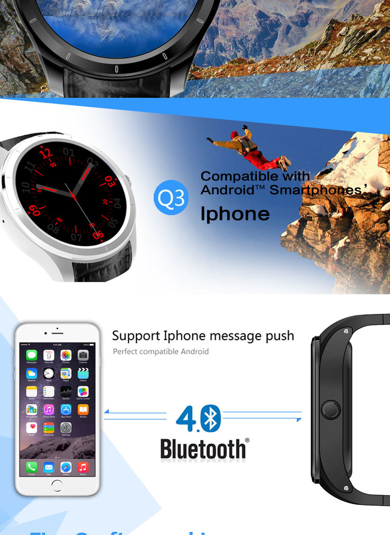 New Fashion Heart rate Q3 Smart Watch For 3G Android WCDMA WiFi Bluetooth s55 smart watch
