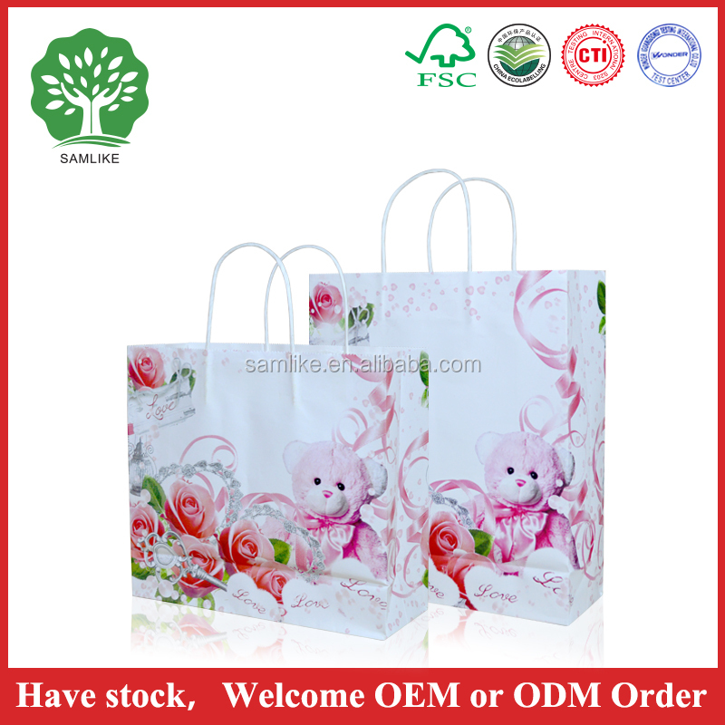 2016 Factory Price Custom Printed Brown Kraft Paper Bag for Gift