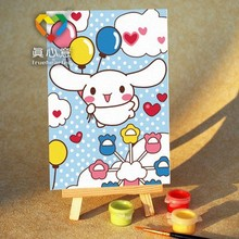 lovely rabbit mini painting kids oil painting by numbers kits