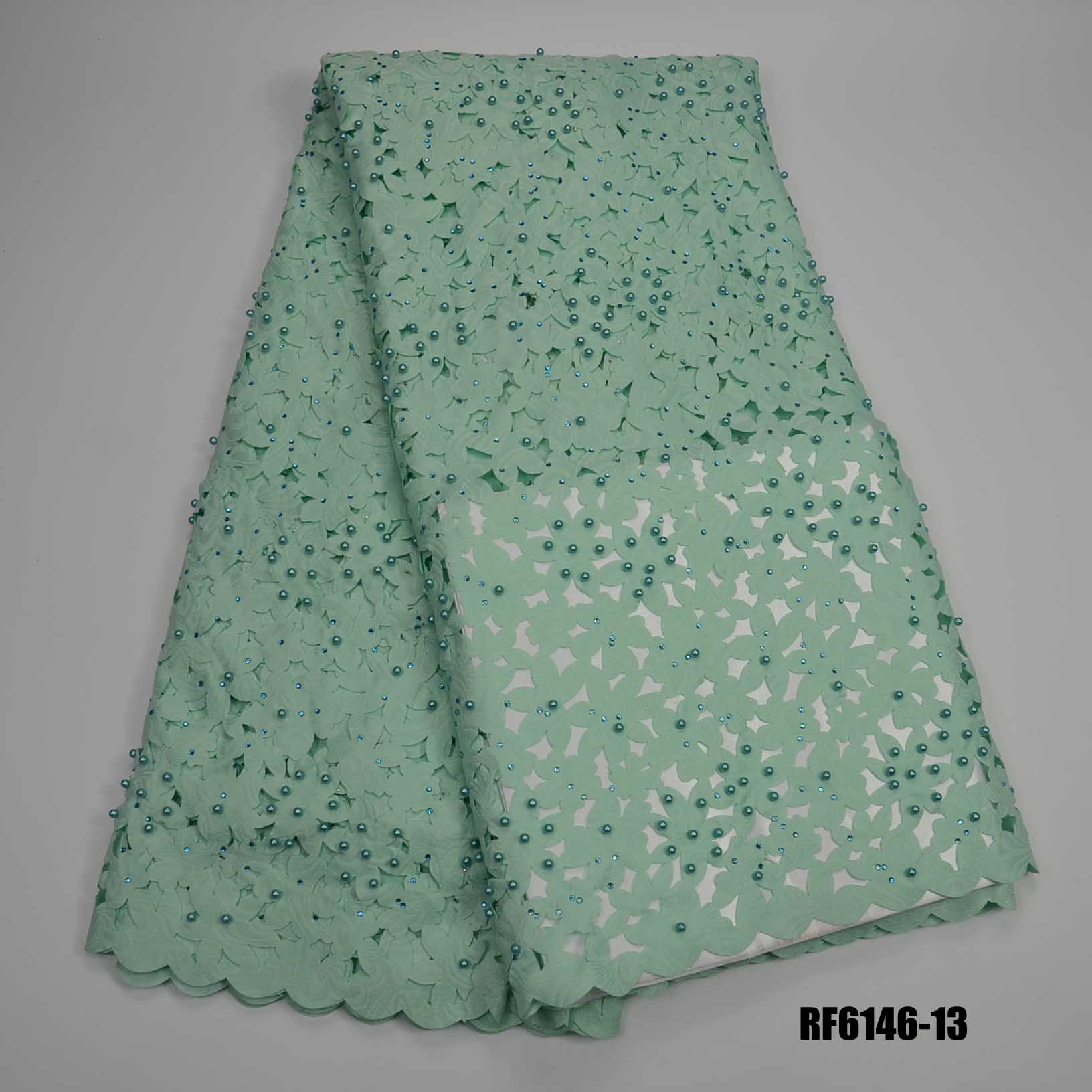 Wholeseprice Laser cut lace beaded customized laser cutting fabric cotton with pearls rhinestone