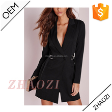alibaba new arrived d-ring blazer dress black women hot selling fashion clothing 2014