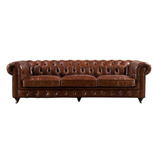 Tufted Vintage Genuine Leather Chesterfield Sofa with Chrome Casters 1+2+3 Sofa Set Home <strong>Furniture</strong>