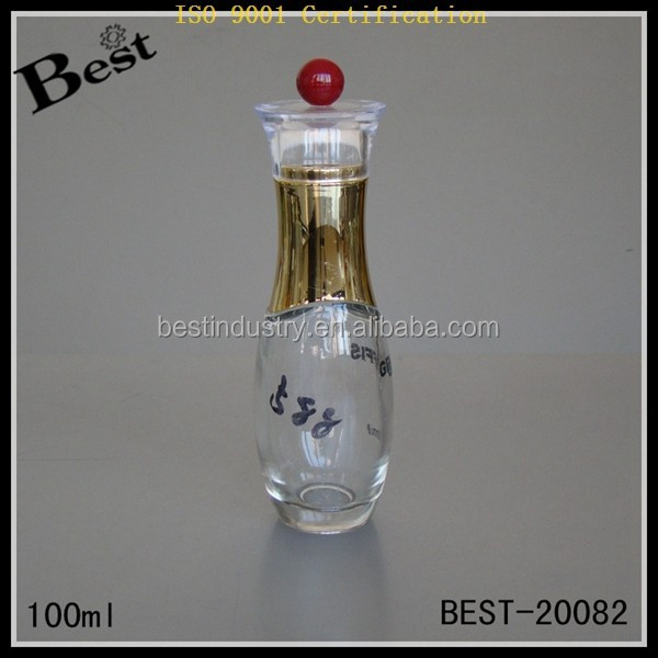 Hot!new product pleasures 3.4 oz/100ml Body Perfume/Lotion Clear Glass Bottle Pump China wholesale