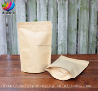 wholesale plastic laminated stand up kraft paper bag with zipper pouch