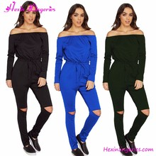 2017 comercio al por mayor <span class=keywords><strong>de</strong></span> manga larga tres colores mujeres pierna corte jumpsuit 2017