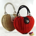girls sweet vintage straw rattan woven basket tote bag purse