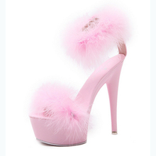 New arrival fetish summer ladies sandal sky high heel platform plush fur female women shoes