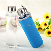 Empty glass bottle 300ml/small size soda bottle with cloth cover