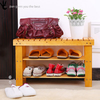 2-Tier Shoe Storage Rack, Shelf Organizer , Natural wood Shoe Bench