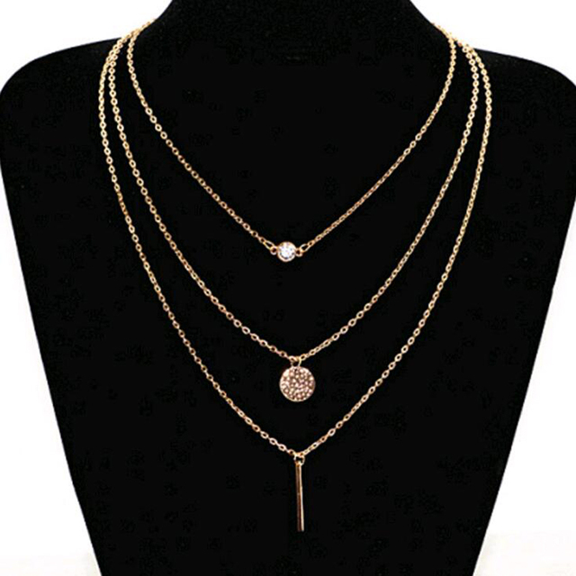Fashion suspension geometry crystal layer 3 gold sliver color to choose chain necklace women jewelry