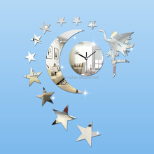 A8002 Angel star removable wall clock DIY 3D Mirror wall clock Acrylic Wall Stickers