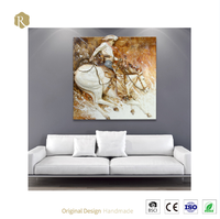 Handpainted Art High Quality Fashion Europe Horse Warrior Oil Painting On Canvas