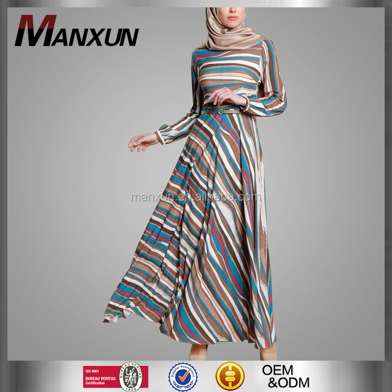 Newest Model Jubah Islamic Abaya Indonesia Muslim Long Women Dress Moroccan Abaya Jilbab Colorful Striped Kebaya