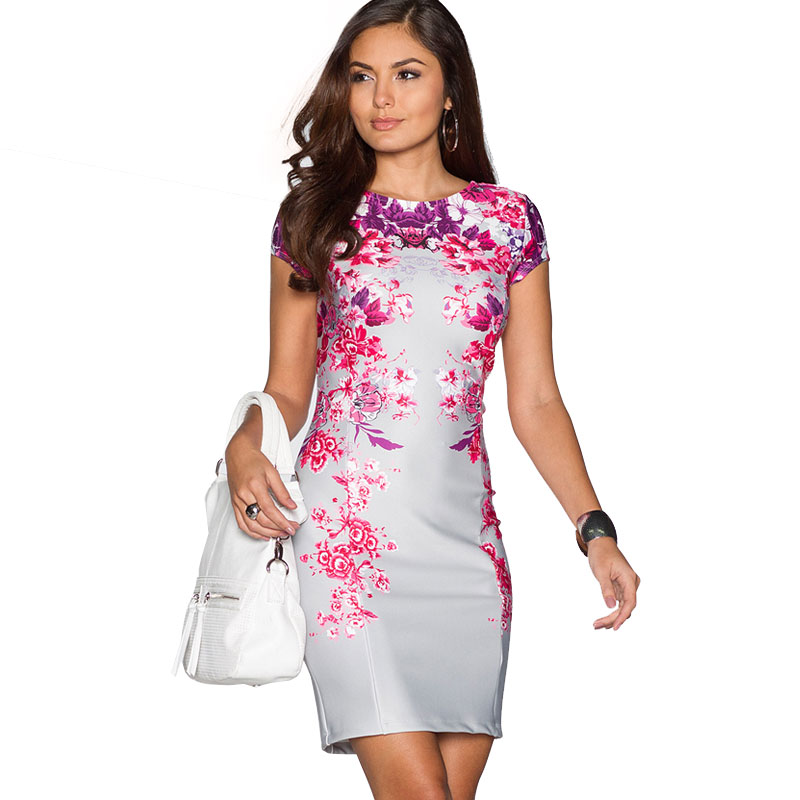 Floral Summer Dress 2016 Elegant Bodycon Women Dress New Arrival Fashion Casual Silver Purple Red Ladies Vestidos Backless