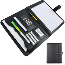 Black Conference Folder Leather A5 Planner Organizer With Calculator