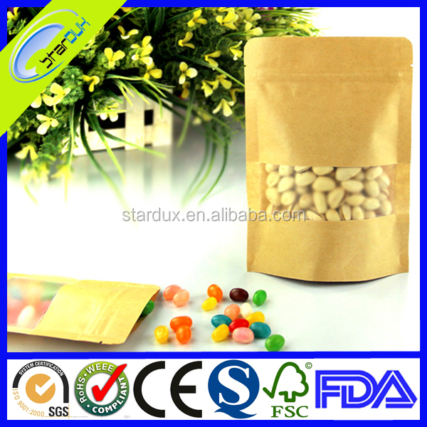 Plastic lined brown kraft paper bag with window and zipper