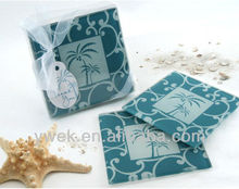 Tropical Breeze Palm Tree Glass Coasters (Set of 2) for wedding SALE HOT !