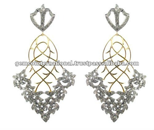 Micro Pave Diamond Designer Earrings 14k Gold Fashion Jewelry