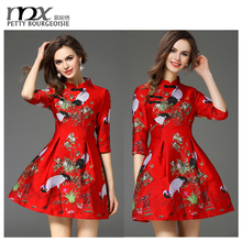 Embroidered new design evening dresses red short sexy cheongsam dress