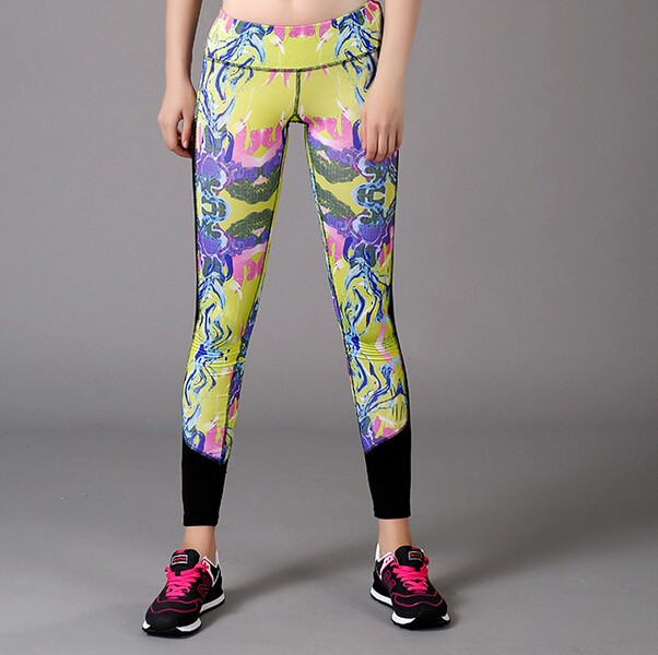 fashion women wholesale yoga pants with mesh