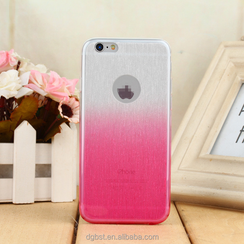 Factory price mobile phone flashing gradient color change raindrop back cover tpu case for iphone 6
