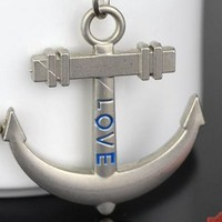 MCH033 12pairs/lot Creative Anchor&steering wheel Couple Silver Key Ring Chain Keychain Gift
