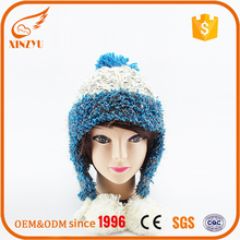 High quality trendy russian style winter hats with pom poms lady hats beanie